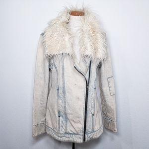 Some Days Lovin Fur Jean Jacket Size Small